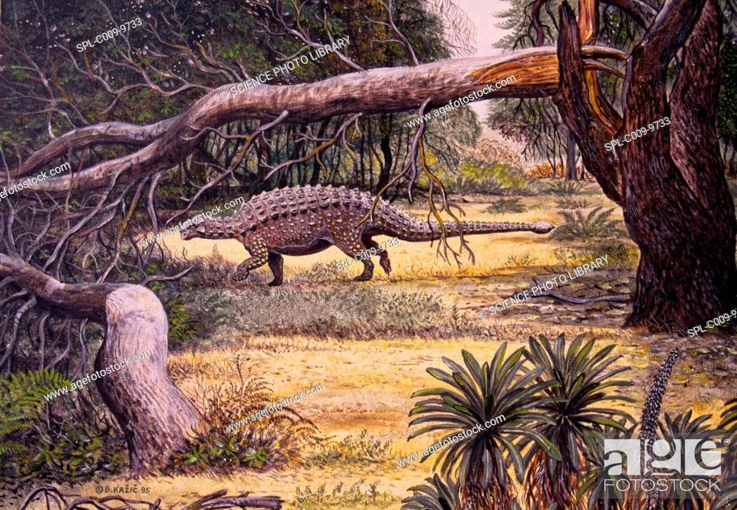 Photo de stock: Pinacosaurus grangeri dinosaur, artwork. This herbivorous dinosaur lived in the Late Cretaceous period around 80 to 75 million years.