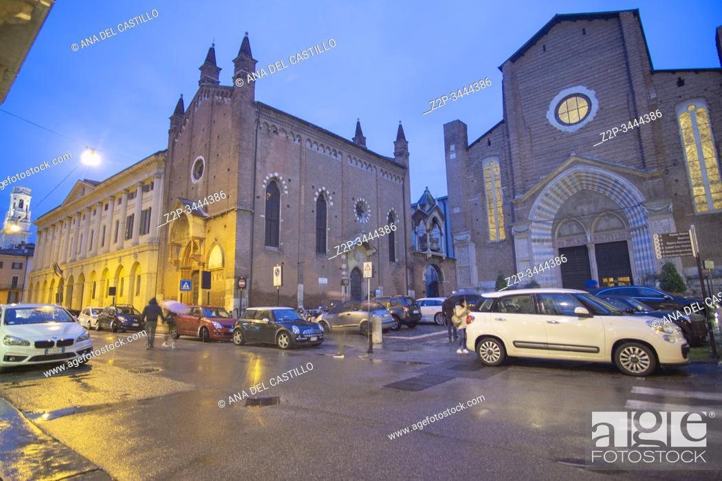 Stock Photo: Verona Veneto on November 23, 2019. Saint Anastasia church by twilight.