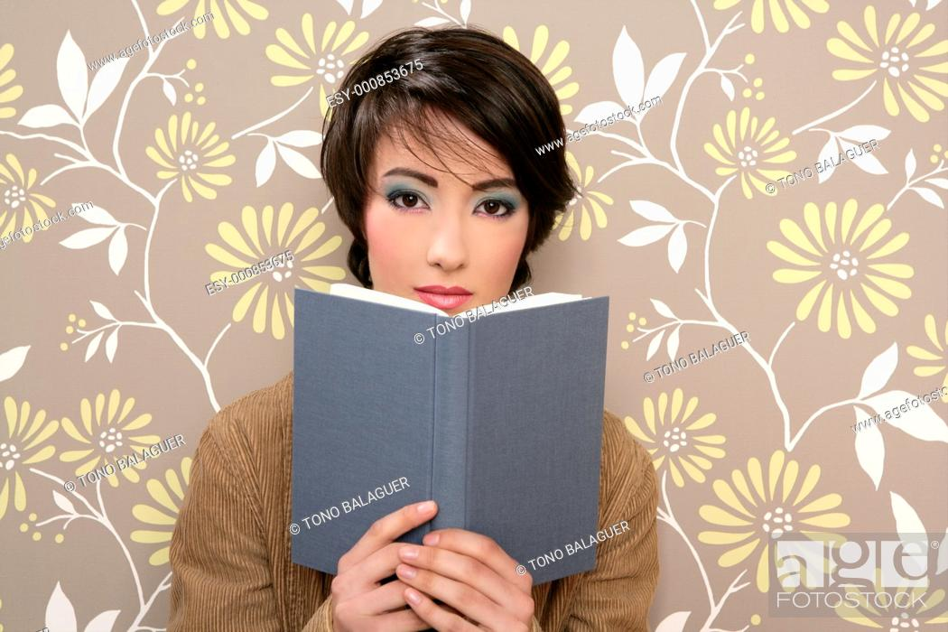 Stock Photo: book reading shy woman retro 60s vintage wallpaper.