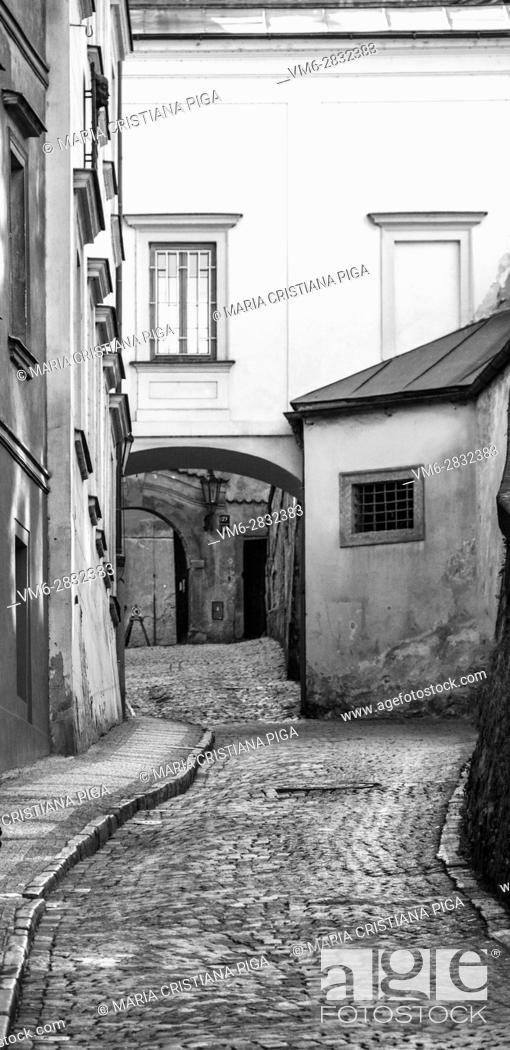 Stock Photo: Old cobbled road in Prague, Czech Republic.