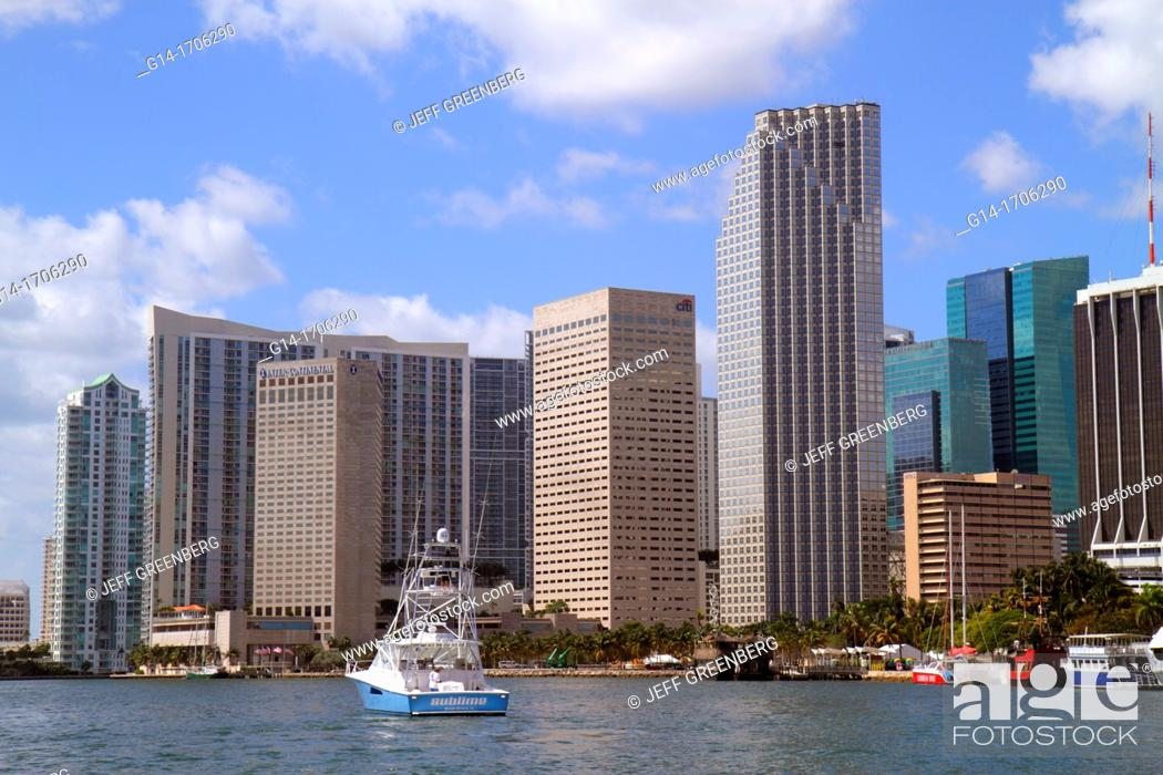Stock Photo: Florida, Miami, Biscayne Bay, downtown skyline, office buildings, hotels, boats, water, Southeast Financial Center, centre,.
