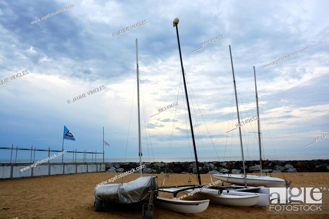 Stock Photo: Sailboats on the beach. Caldes d'Estrac, Maresme, Barcelona Province, Spain.