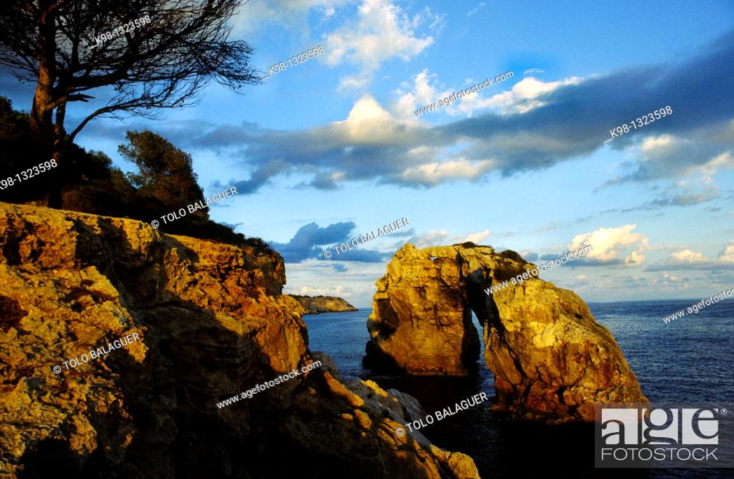 Stock Photo: Es Pontas rock, Migjorn, Santanyi, Majorca, Balearic Islands, Spain.