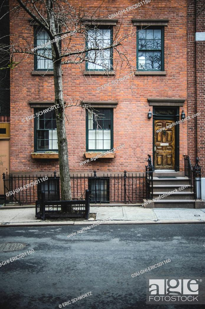 Stock Photo Red Brick Apartment Building West Village Manhattan New York City Usa