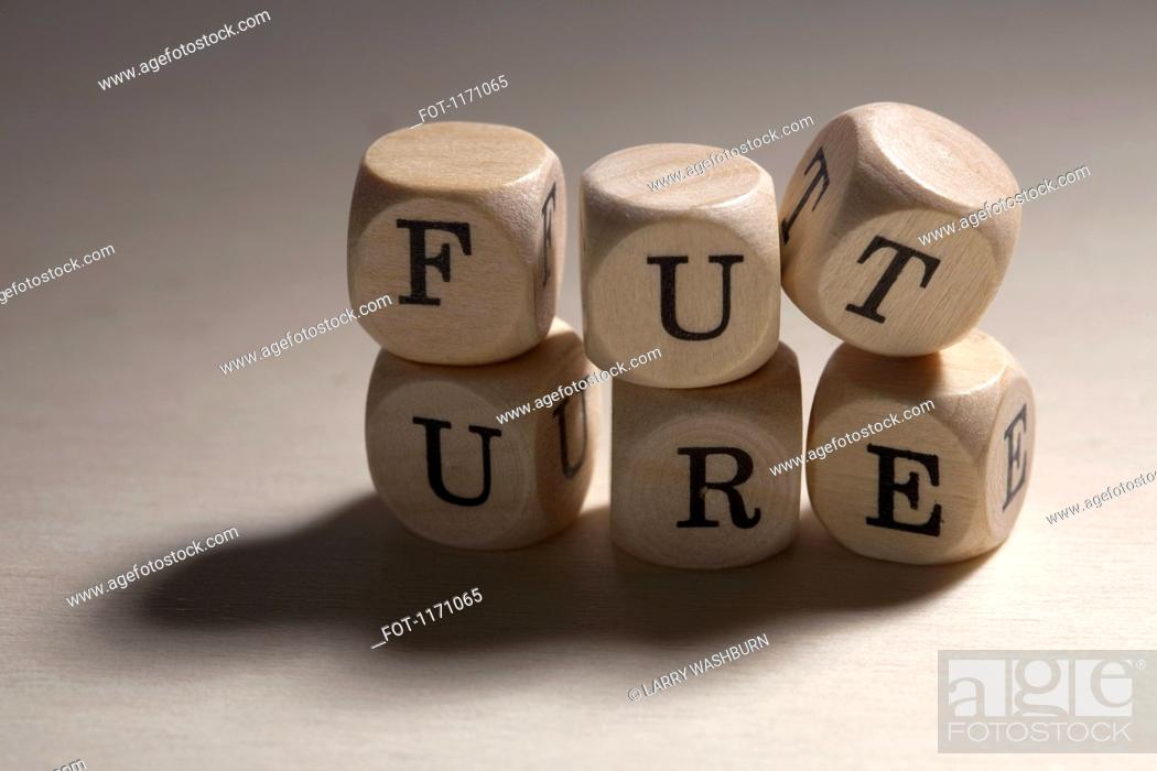 Stock Photo: Lettered cubes stacked to spell the word future.