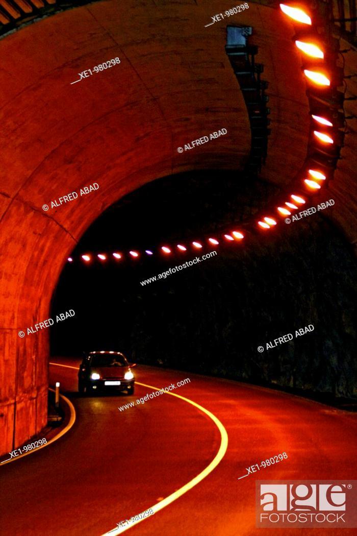 Stock Photo: Acces tunnel to La Llosa de Cavall reservoir, Solsonés, Catalonia, Spain.