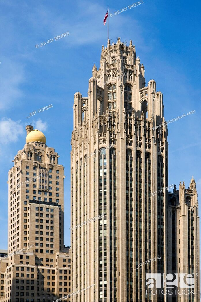 Stock Photo: The Tribune tower and the famous skyline of Chicago.