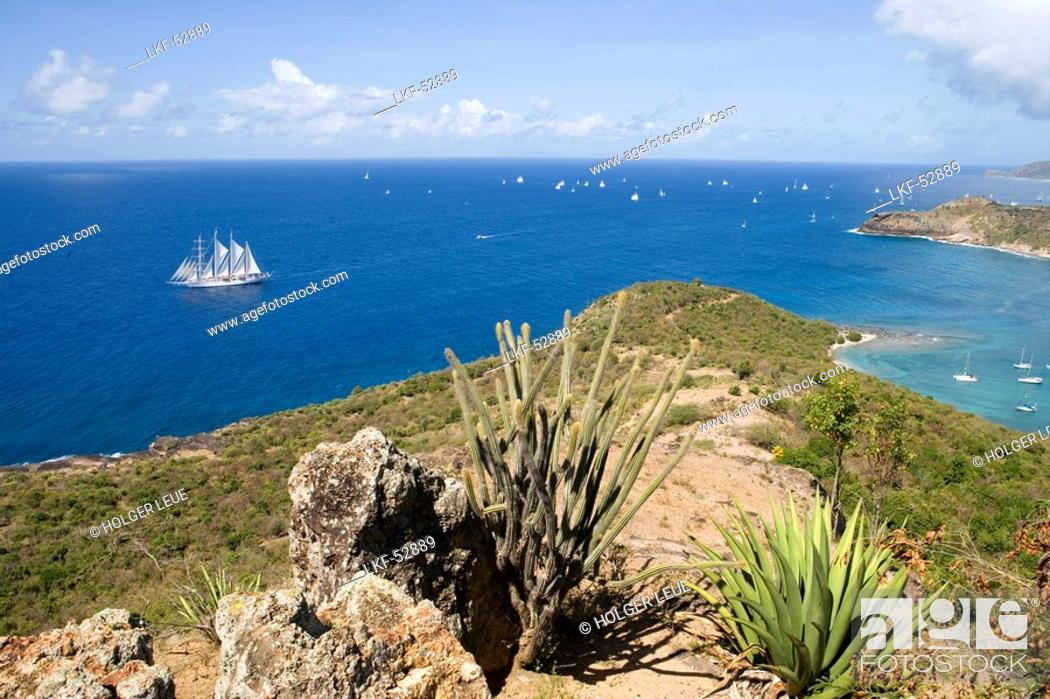 Stock Photo: Star Clipper and English Harbour, View from Shirley Heights, Antigua.