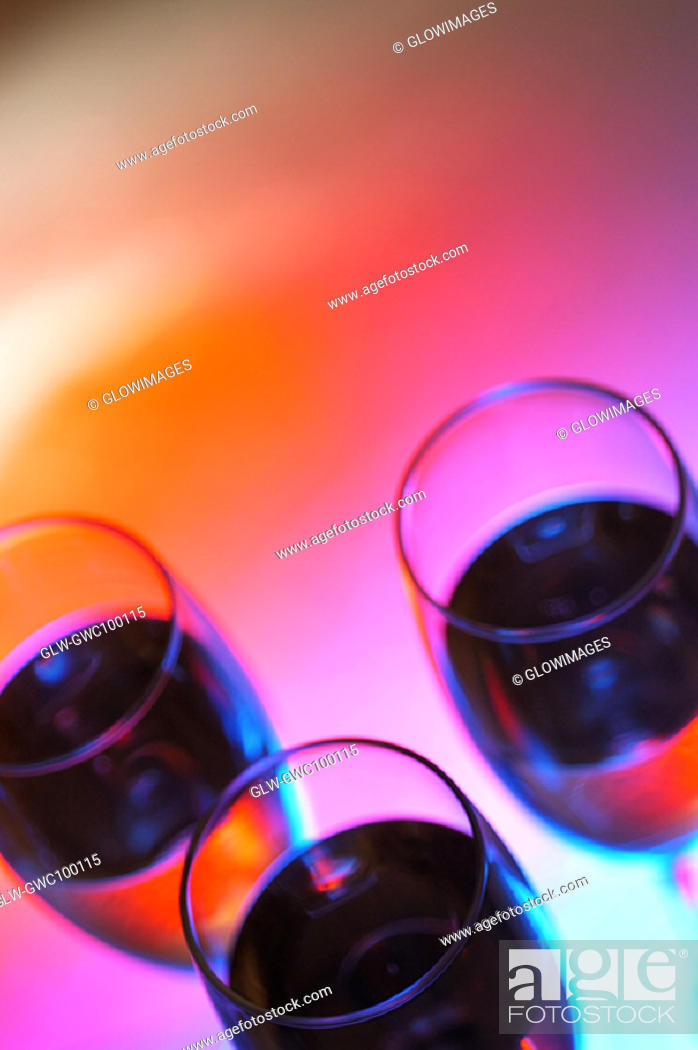 Stock Photo: High angle view of three glasses of wine.