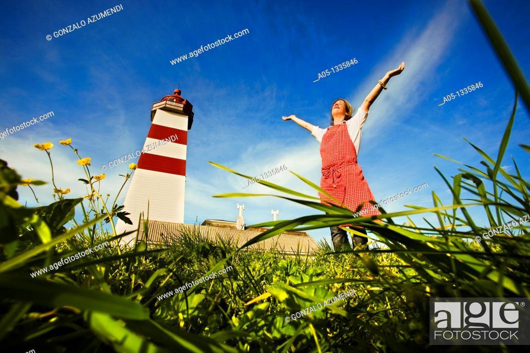 Stock Photo: Alnes Lighthouse, next to Alesund  More & Romsdal, Norway.