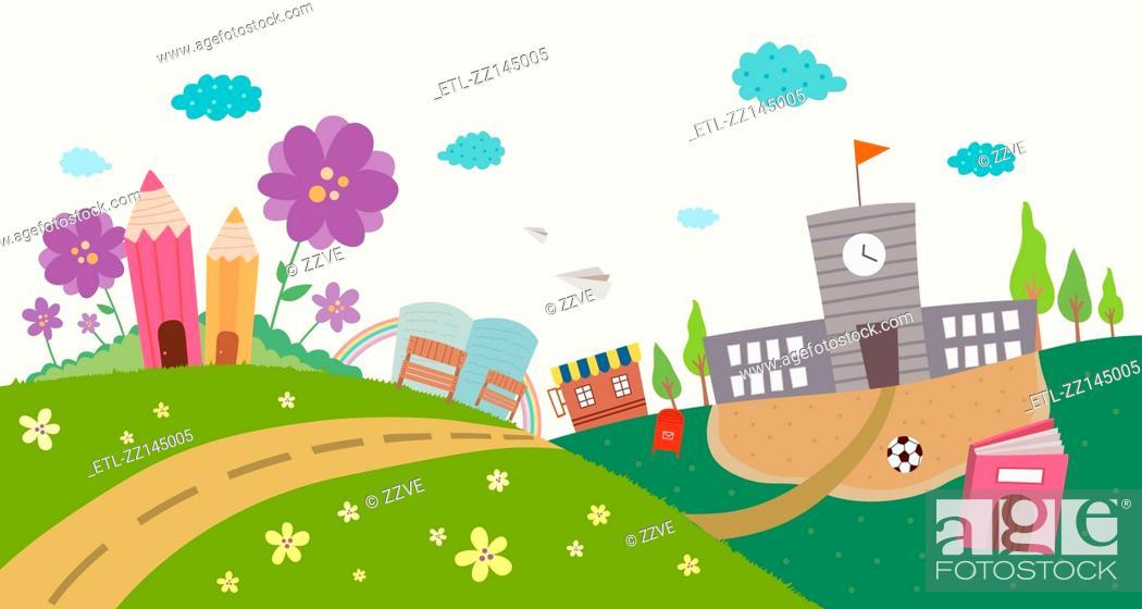 Stock Photo: view of school.