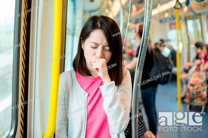 Stock Photo: Woman feeling unwell inside train.