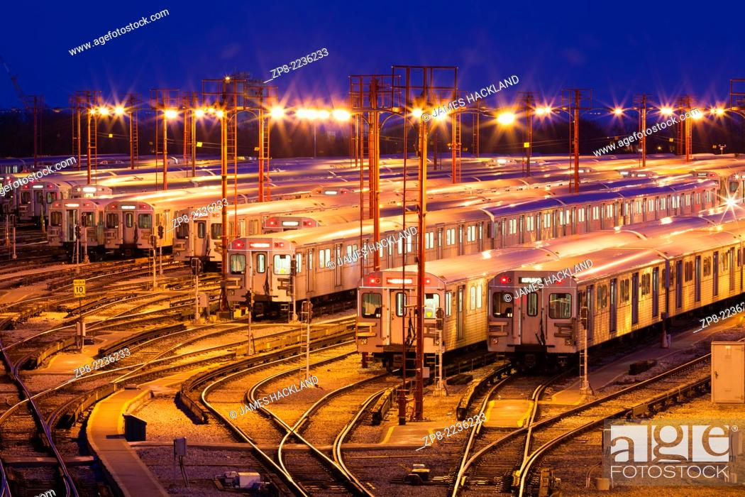 Stock Photo: The Greenwood Subway Yards seen at dusk. Toronto, Ontario, Canada.