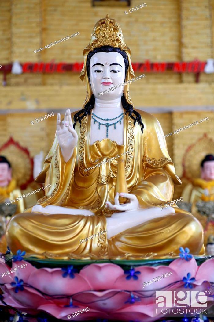 Stock Photo: Goddess of Mercy, Avalokitesvara Bodhisattva statue, Hoi Tuong Te Nguoi Hoa Buddhist Chinese temple, Quan Am, Phu Quoc, Vietnam, Indochina, Southeast Asia, Asia.