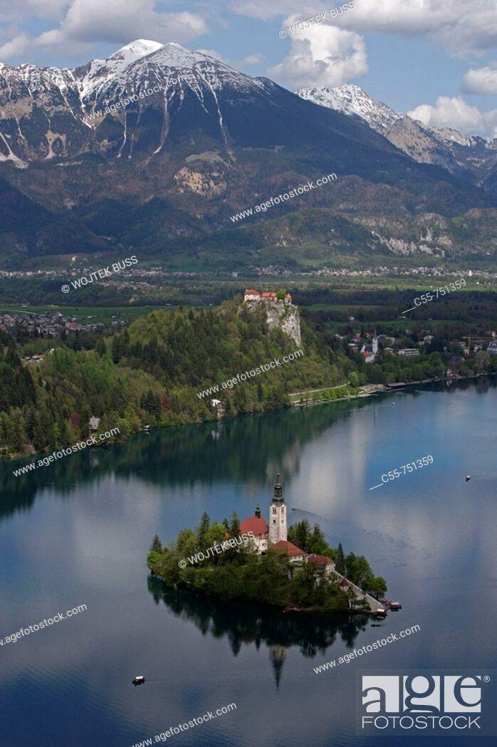 Stock Photo: Bled, Lake Bled, Bled Island, Church of the Assumption, Bled Castle, Karavanke Mountains, Slovenia.
