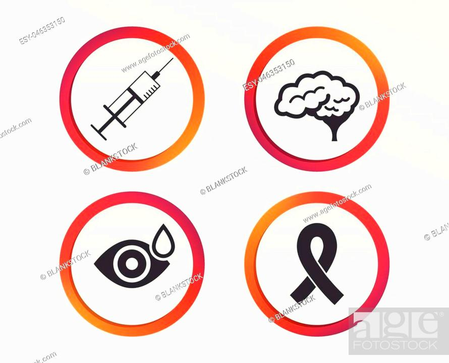 Stock Vector: Medicine icons. Syringe, eye with drop, brain and ribbon signs. Breast cancer awareness symbol. Human smart mind. Infographic design buttons.