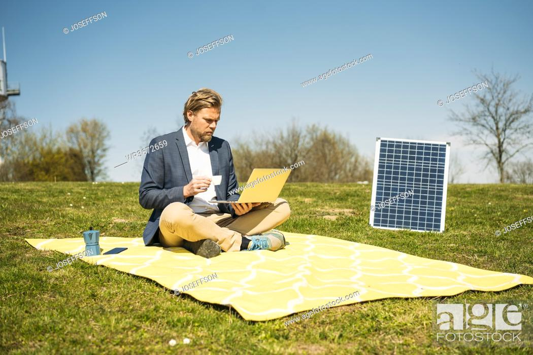Stock Photo: Male entrepreneur using laptop while drinking coffee on picnic blanket by solar panel at park during sunny day.