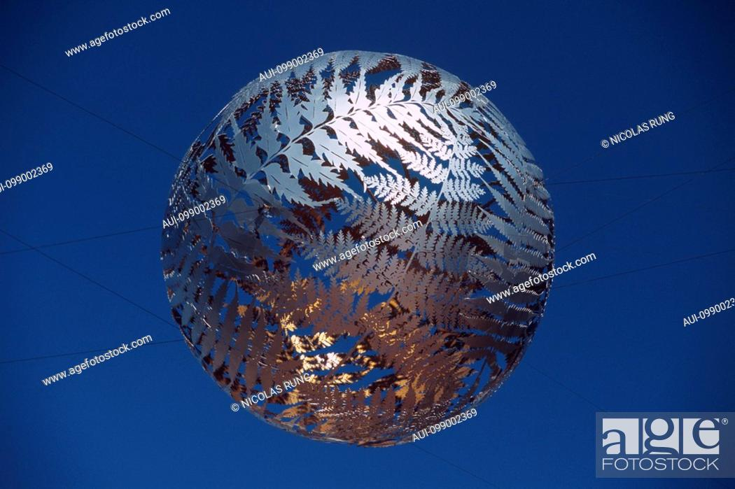 Stock Photo: New Zealand - North Island - Wellington - Civic Square - Silver Fern symbol of the country.