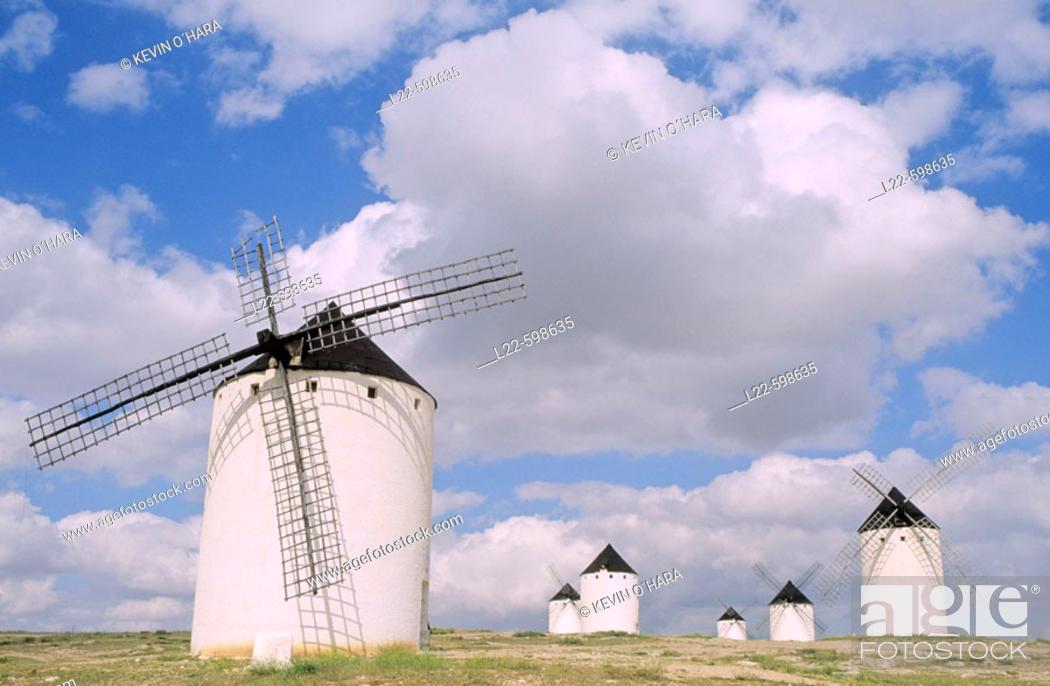 Stock Photo: Windmills in Campo de Criptana. Castilla-La Mancha. Spain.