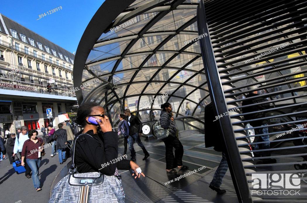 Stock Photo: St. Lazare subway station. Paris, France.
