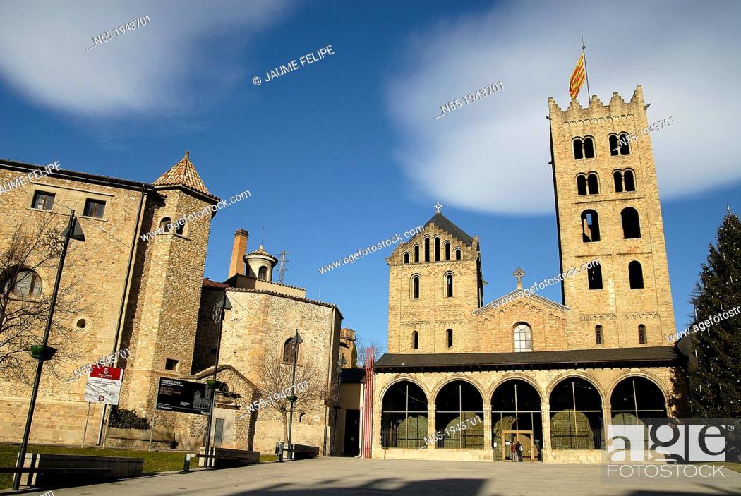 Stock Photo: Monastery of Santa Maria de Ripoll IXth century, Ripoll, Ripollès, Girona, Catalonia. Spain.