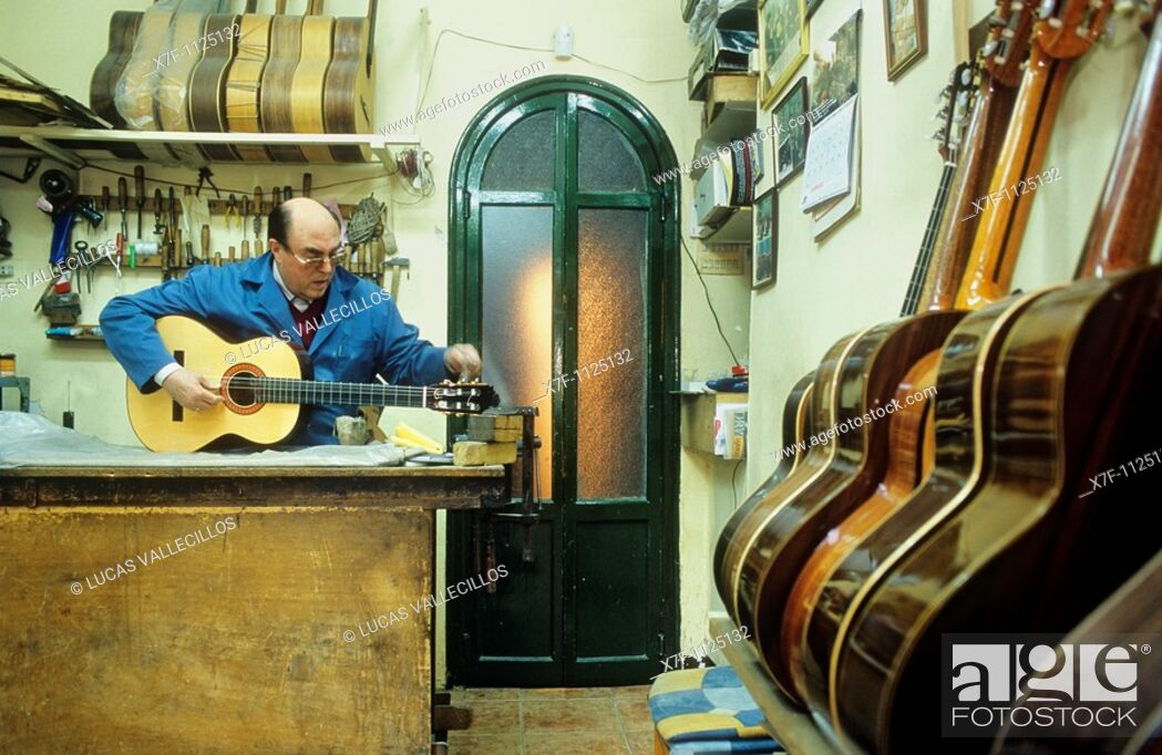Stock Photo: Antonio Morales Luthier Guitar maker Workshop  Cuesta de Gomerez 9  Granada, Andalucia, Spain.