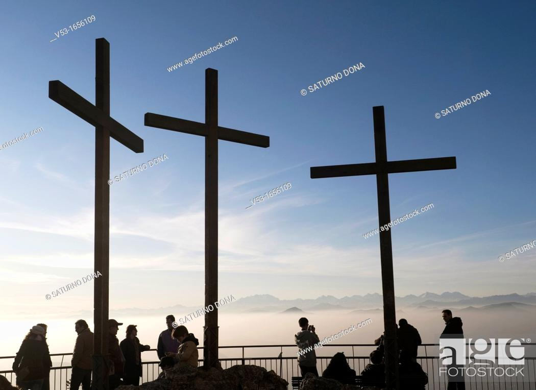Stock Photo: Three Crosses and Tourists on the Hilltop, San Maurizio, Brunate, Como, Italy.