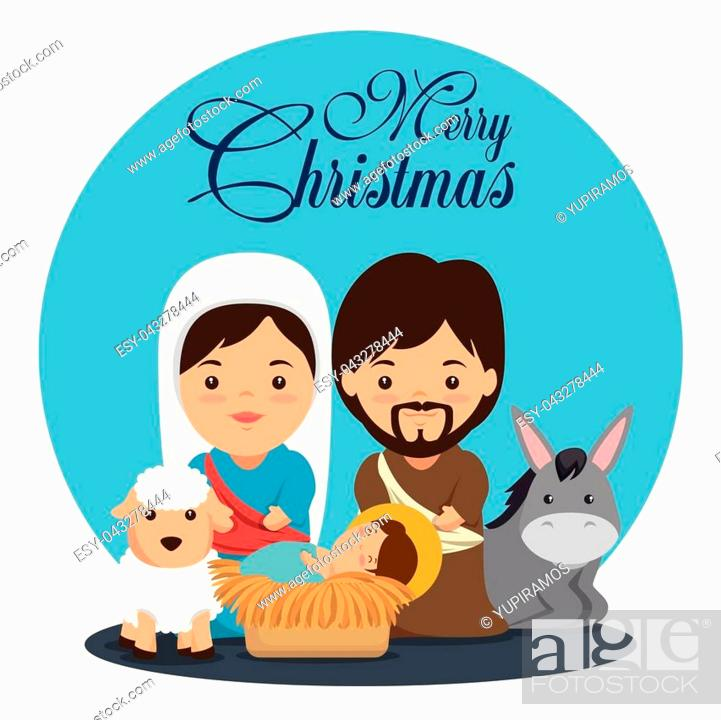 Merry Christmas Nativity Scene With Holy Family Vector Illustration Graphic Design Stock Vector Vector And Low Budget Royalty Free Image Pic Esy 043278444 Agefotostock