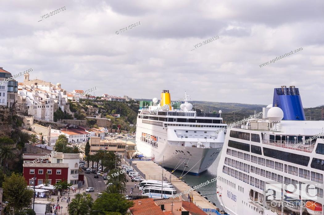 Stock Photo: Cruise ships at the port at Mahon , Menorca , Balearic Islands , Spain.