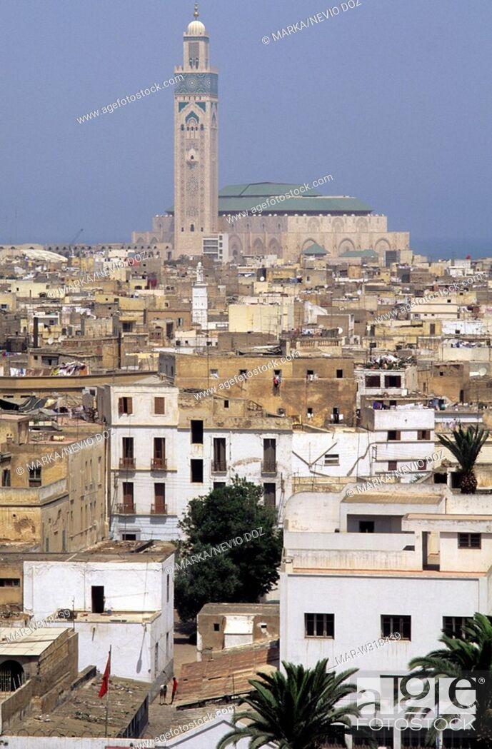 Stock Photo: assan ll mosque, medina, casablanca, morocco, africa.