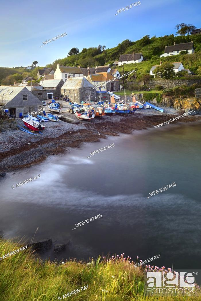 Stock Photo: A long shutter speed was utilized to capture this image of Cadgwith Cove on Cornwall's Lizard Peninsula. It was taken from The Todden on an evening in early May.