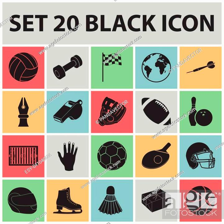 Stock Vector: Different kinds of sports black icons in set collection for design. Sport equipment vector symbol stock illustration.