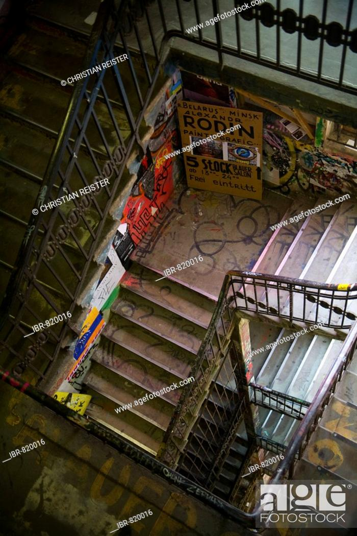 Stock Photo: Staircase in the Kunsthaus Tacheles, Oranienburg Road, Berlin-Mitte, Germany, Europe.
