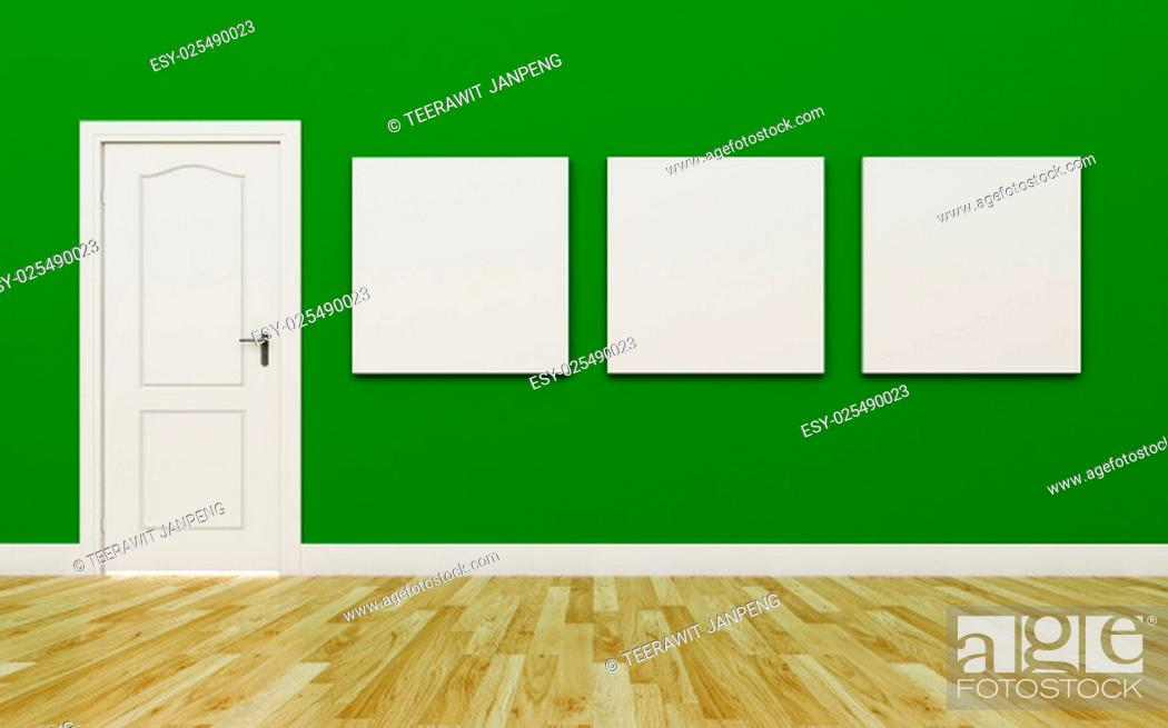 Stock Photo: Closed White Door on Green Wall , three blank poster , Wood Floor.