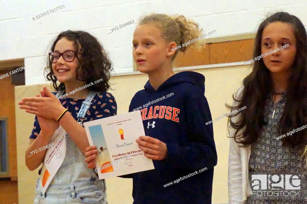 Photo de stock: Literacy Achievement Award Recipients, Wellsville, New York, USA.