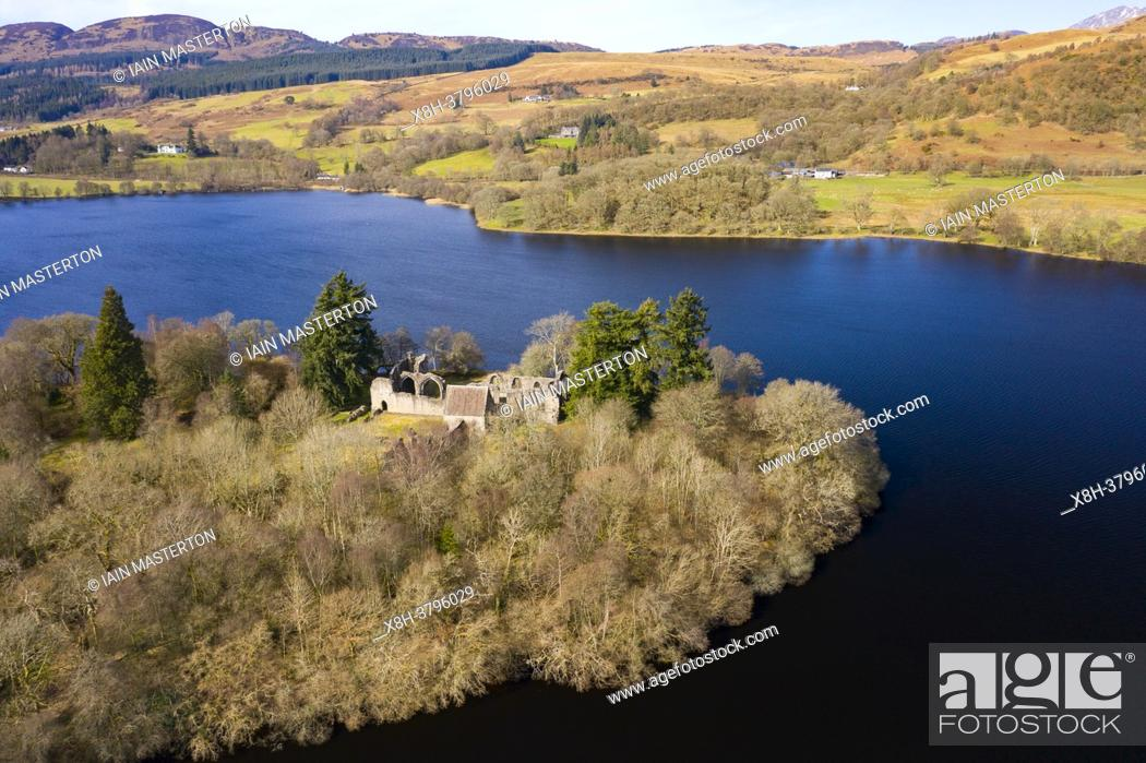 Stock Photo: Inchmahome Priory is situated on Inchmahome, the largest of three islands in the centre of Lake of Menteith, Scotland UK.