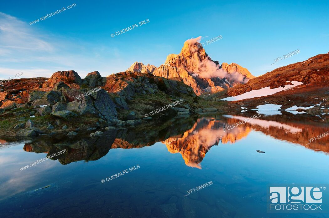 Stock Photo: Italy, Trentino Alto Adige, Trento district - Cimon della Pala at sunset.