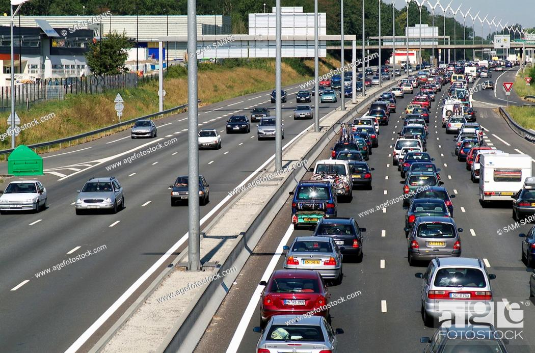 Stock Photo: Heavy traffic jam on A69 Highway during an August public holiday, Talence, Bordeaux, France.