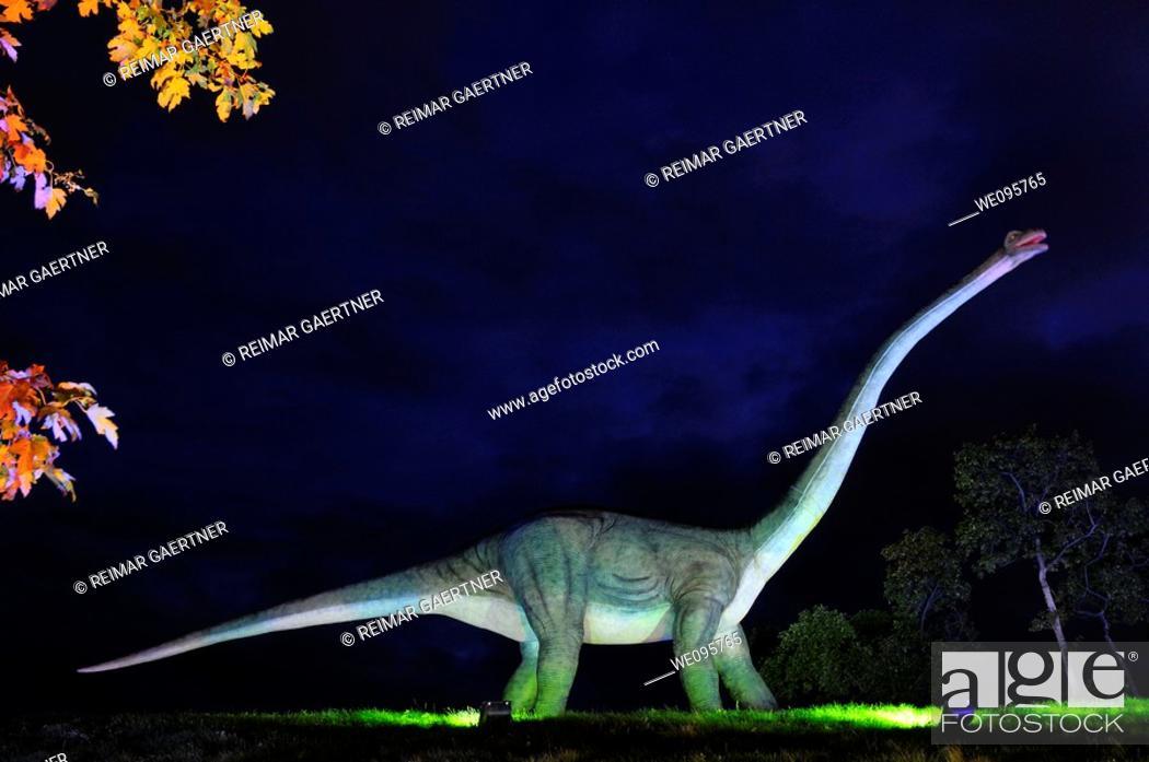 Stock Photo: Moving Apatosaurus model at night at Ontario Place Toronto.