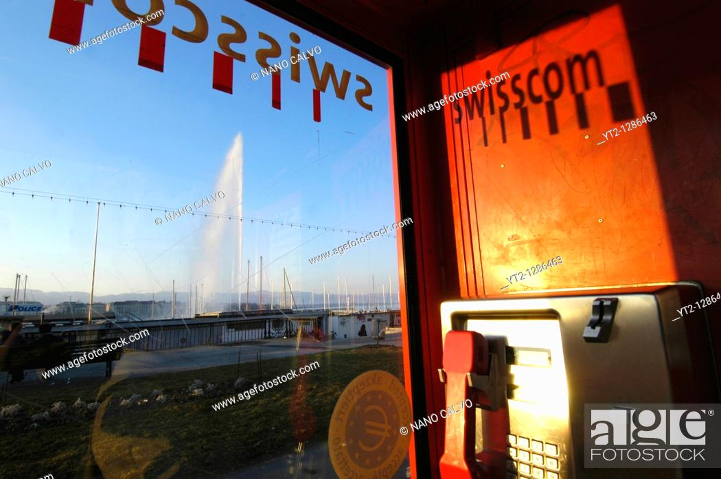 Stock Photo: View of Jet D`eau from a telephone booth of swisscom, Geneva, Switzerland.