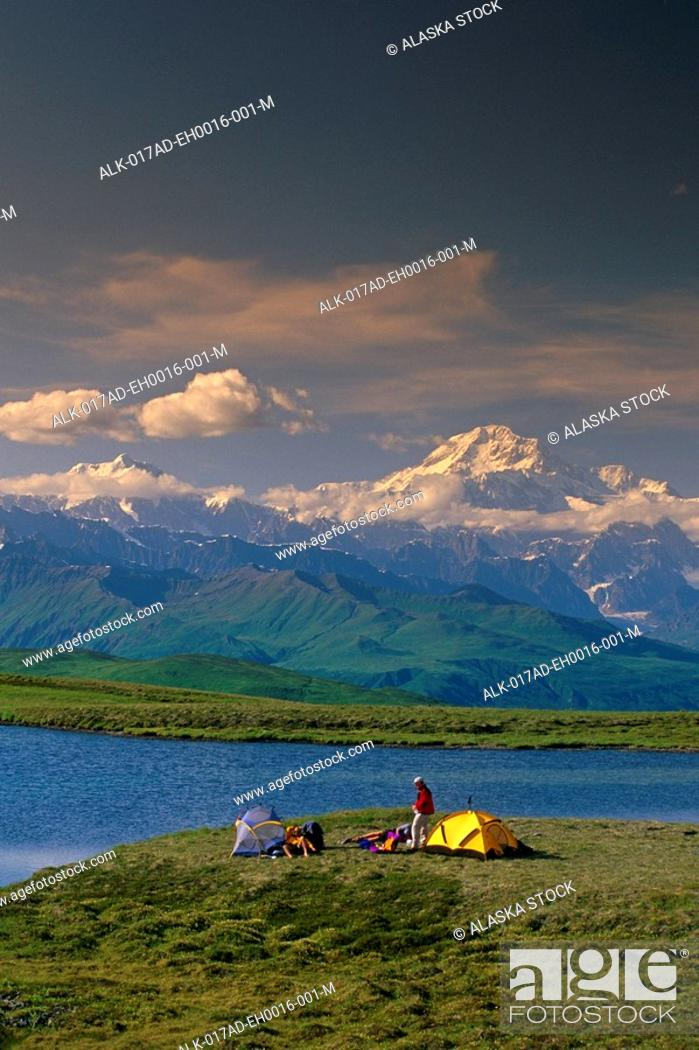 Photo de stock: Hikers @ Camp near Tundra Pond Denali SP SC AK Summer/nw/Mt McKinley background.