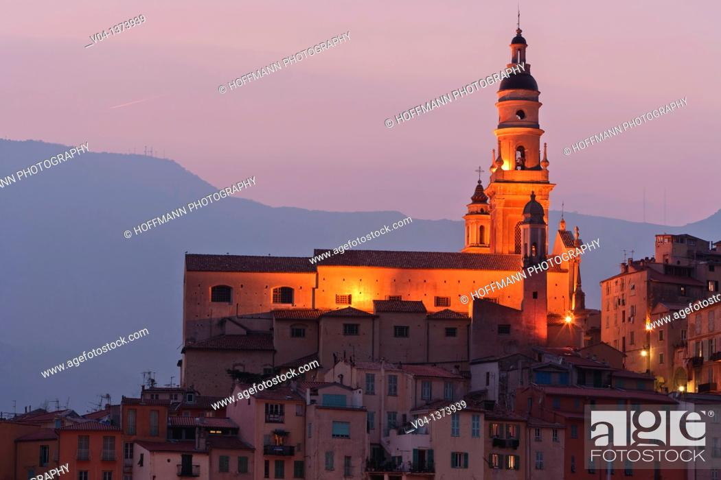 Stock Photo: The Basilique St-Michel-Archange in Menton at dusk, France, Europe.