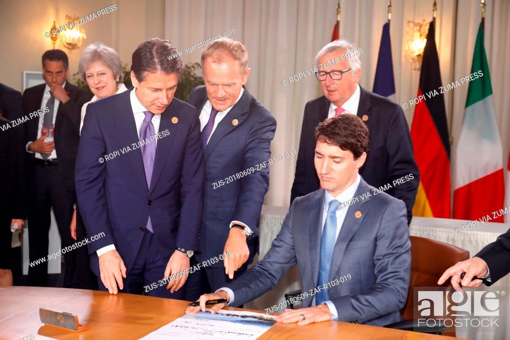 Stock Photo: Canada , Charlevoix- May 9, 2018.G7.Signing of the Scroll.Giuseppe CONTE; Donald TUSK; Jean-Claude JUNCKER; Justin TRUDEAU (Credit Image: © Pignatelli/Euc/Ropi.