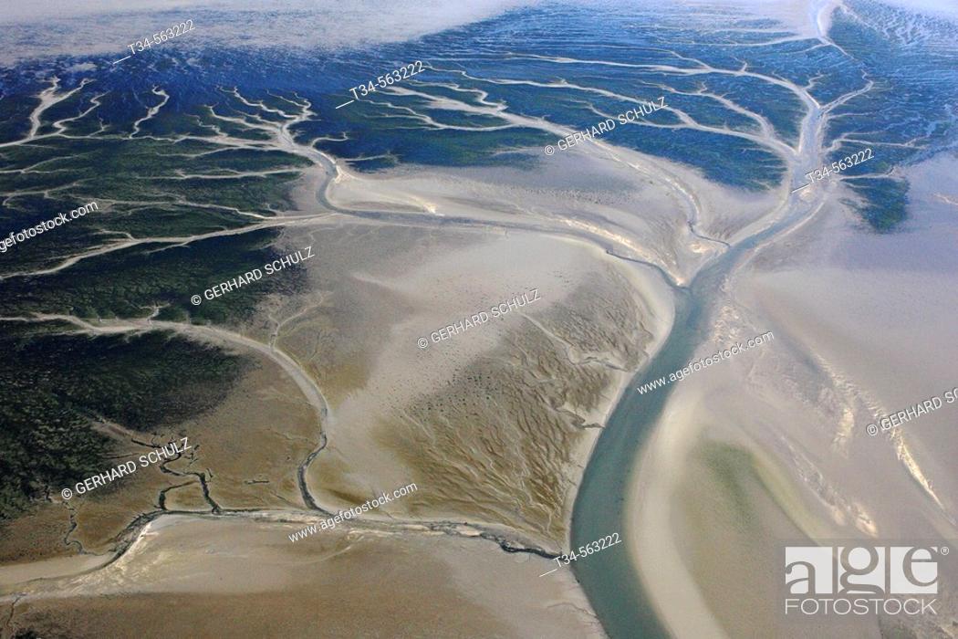 Stock Photo: Tidal Creeks. Wadden Sea National Park. North Sea. Schleswig-Holstein, Germany.