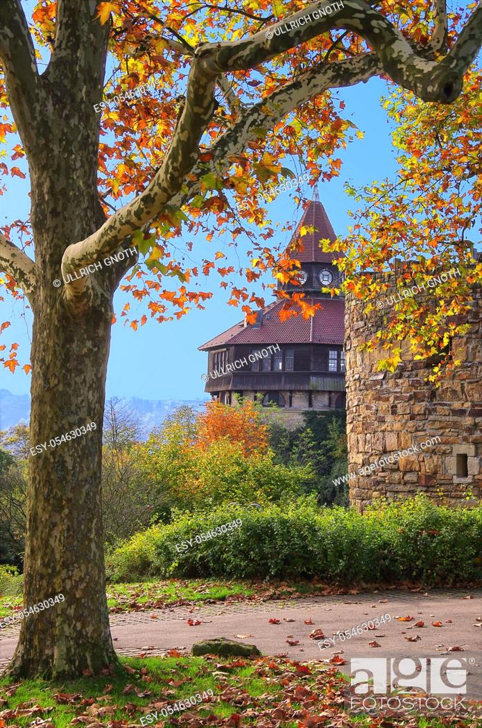Stock Photo: Parts of the old fortification wall with the Dicker Turm of Esslingen Castle, Esslingen, Germany.