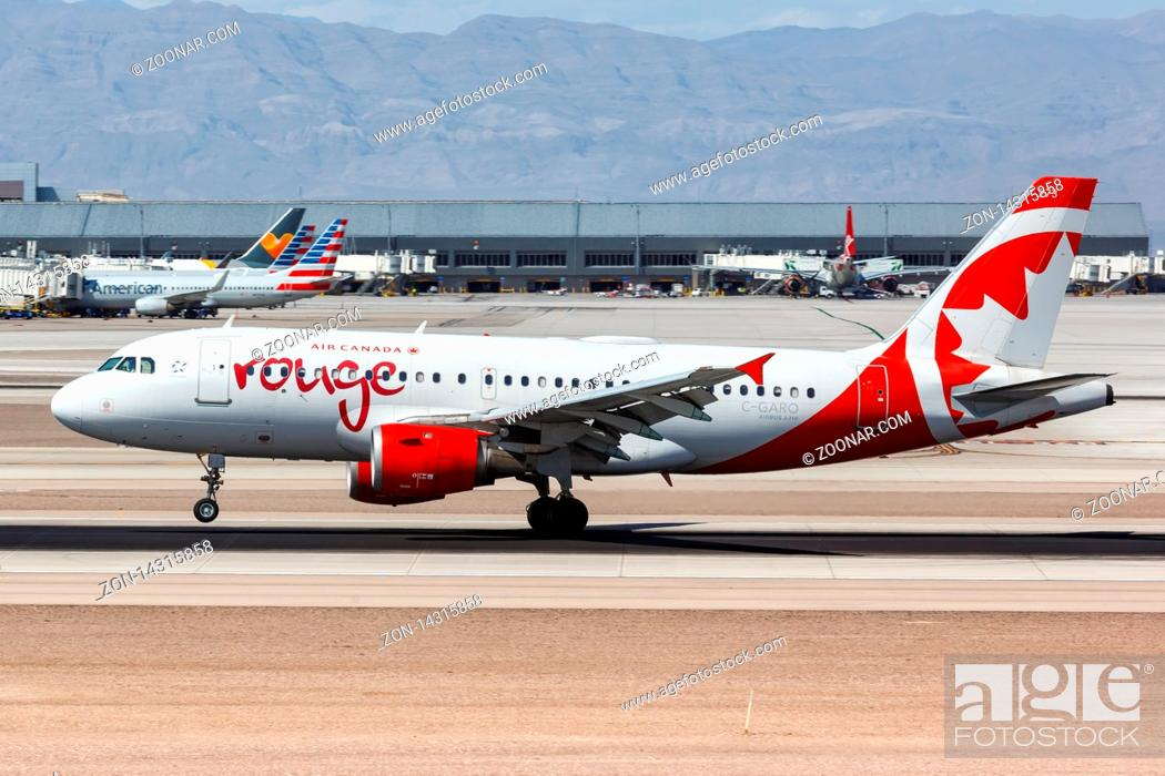 Stock Photo: Las Vegas, Nevada ? April 9, 2019: Air Canada Rouge Airbus A319 airplane at Las Vegas airport (LAS) in the United States.