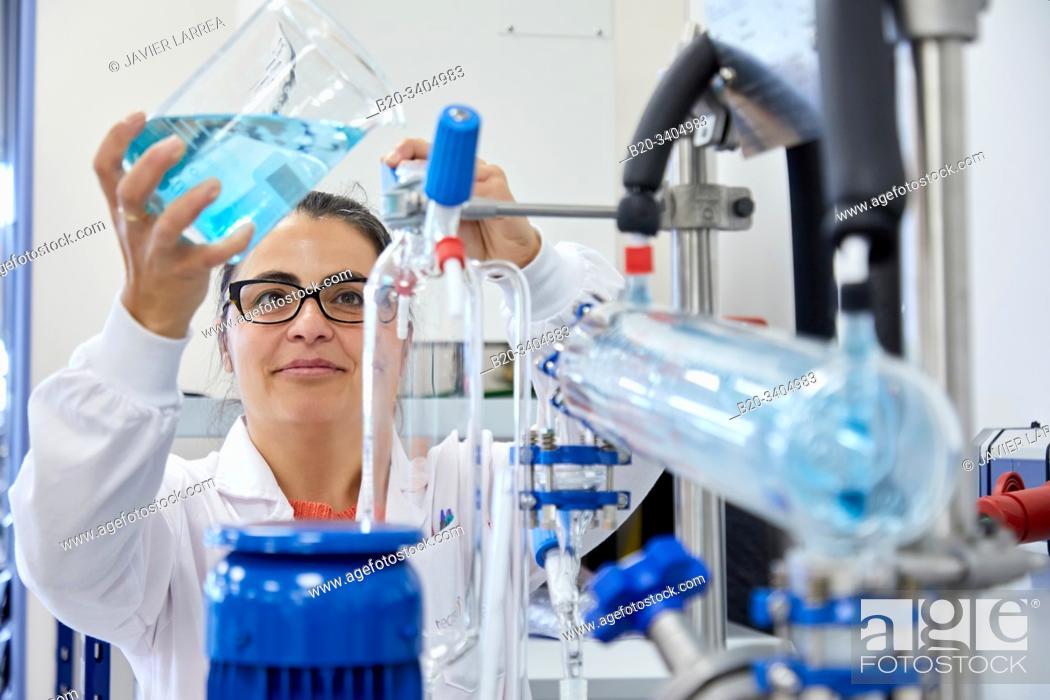 Stock Photo: Minipilot, Glass Reactor, Pilot Plant equipment, Biotechnology Laboratory, Food industry, Unit of Health, Technology Centre, Tecnalia Research & Innovation.