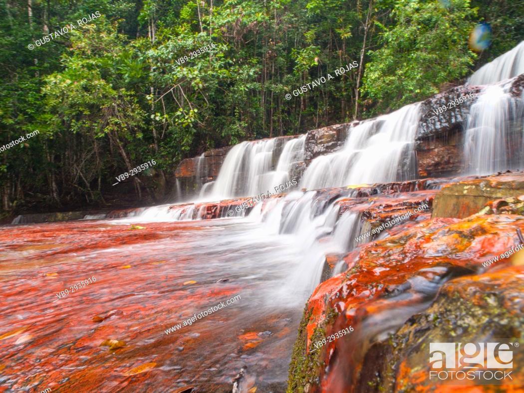 Stock Photo: Quebrada de Jaspe, Bolívar, Gran Sabana, Venezuela, South America River, red Jaspis, water surface, Leaf, drives South America.