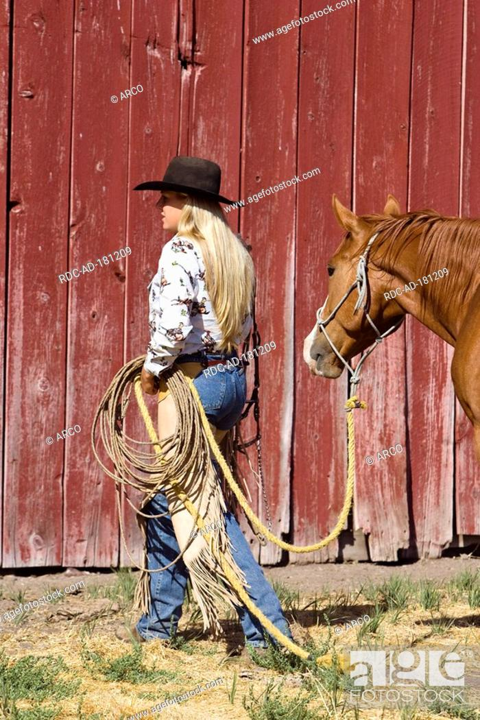 Cowgirl In Western Outfit With Horse Ponderosa Ranch Oregon Usa Wild West Stock Photo Picture And Rights Managed Image Pic Rdc Ad 181209 Agefotostock