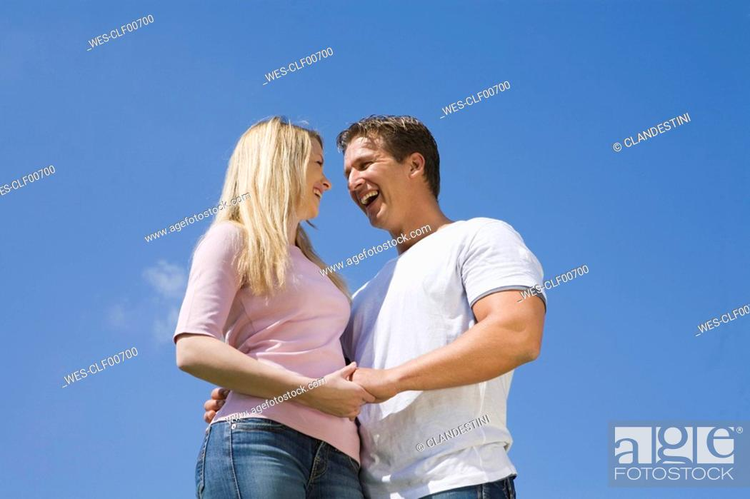 Stock Photo: Germany, Bavaria, Munich, Portrait of a young couple.